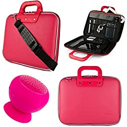 SumacLife Cady 11.6-inch Tablet Bag for RCA 11 Maven Pro, RCA Cambio W1162 V2 with Bluetooth Speaker (Pink)