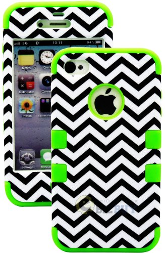 Mylife (Tm) Bright Green - Chevron Series (3 Piece Protective) Hard And Soft Case For The Iphone 4/4S (4G) 4Th Generation Touch Phone (Fitted Front And Back Solid Cover Case + Internal Silicone Gel Rubberized Tough Armor Skin + Lifetime Warranty + Sealed