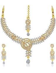 Sukkhi Resplendent Gold & Rhodium Plated AD Necklace Set For Women