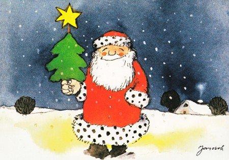 Janosch WeihnachtsPOSTkarte Lachender Weihnachtsmann
