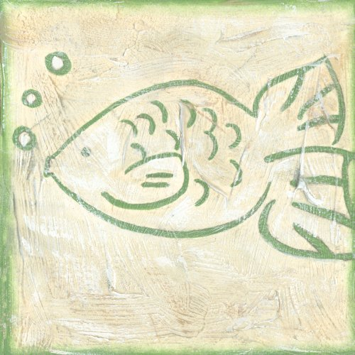 Green Frog Art 6X6 Canvas Gallery Wrapped Art, Fish Tale I