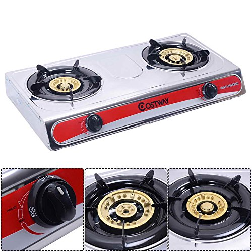 Safstar Portable Propane Gas Stove Stainless Steel Double