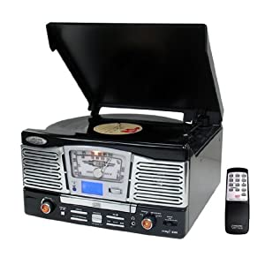 Pyle Home Retro Style Turntable with CD/Radio/USB/SD/MP3/WMA and Vinyl to MP3 Encoding from Pyle