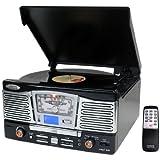 Pyle Home PTCD8UB Retro Style Turntable with CD/Radio/USB/SD/MP3/WMA and Vinyl to MP3 Encoding (Black)