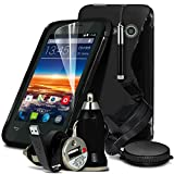 ( Black ) Vodafone Smart 4 Mini Case SUPER 6-IN-1 High Quality Protective CAR ACCESSORY PACK S Line Wave Gel Skin Cover + Retractable Touchscreen Stylus Pen + LCD Screen Protector Guard + Unisuction 360 In-Car Windscreen Suction Car Mount Holder + In Car