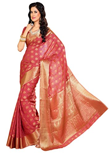 Meghdoot Tassar Silk Saree With Blouse Piece (Mt 189(Strawberry) -Pink)