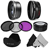 Clearance Sale on Lens and Filter Kit for CANON Rebel (T3i T3 T2i T1i XT XTi XSi), CANON EOS (1100D 600D 550D 500D 450D 400D 350D 300D 60D 30D) &#8211; Includes: 58MM 2.2X Telephoto &amp; Wide Angle High Definition Lenses + Macro Close-Up Set (+1 +2 +4 +10) + Filter Kit (UV, Polarizing, Fluorescent) + Tulip Flower Lens Hood + 2 Premium Goja Microfiber Lens Cleaning Cloths