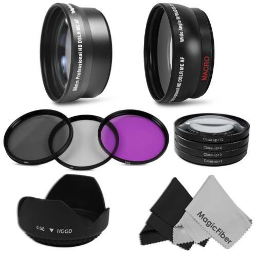 Lens and Filter Kit for CANON Rebel (T3i T3 T2i T1i XT XTi XSi), CANON EOS (1100D 600D 550D 500D 450D 400D 350D 300D 60D 30D) - Includes: 58MM 2.2X Telephoto & Wide Angle High Definition Lenses + Macro Close-Up Set (+1 +2 +4 +10) + Filter Kit (UV, Polarizing, Fluorescent) + Tulip Flower Lens Hood + 2 Premium Goja Microfiber Lens Cleaning Cloths