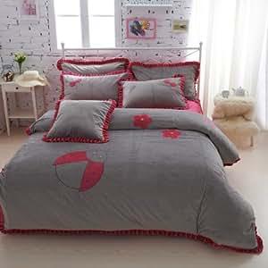 Dream garden gray princess bedding girls for Grey velvet comforter