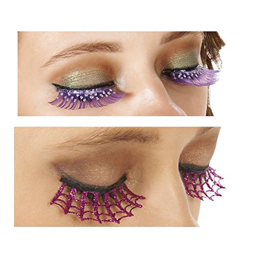[Pink Spiderweb Eyelashes and Purple and Silver Eyelashes Bundle Set] (Spider Web Eye Makeup)