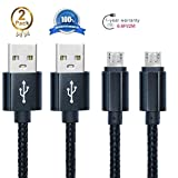 Android Charging Cable,Hankuke [2-Pack] Multi length and color Sturdy Nylon Fabric Braided High Speed Data Sync USB to Micro USB Cable (2m black)