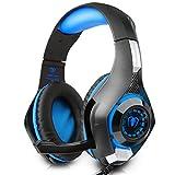Beexcellent ゲーミングヘッドセット ps4 ヘッドホン ゲーム用 pc スマホ等に対応 騒音抑制マイク付 ブルー