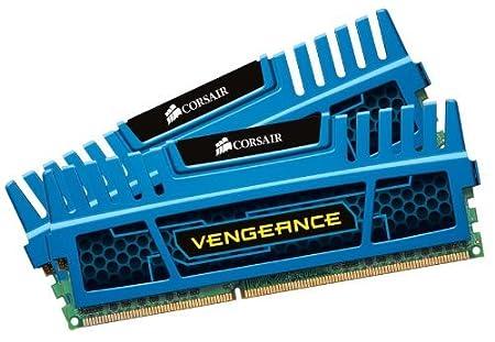 Corsair CMZ8GX3M2A1866C9B Vengeance 8GB (2x8GB) DDR3 1866 Mhz CL9 Mémoire pour ordinateur de bureau performante avec profil XMP. Bleu