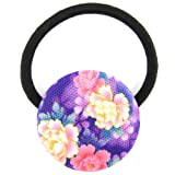 Hot Pink Purple Neon Melody Printed Silk Screen Woven Fabric Covered Button Hair Elastic