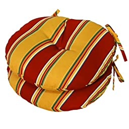 Greendale Home Fashions 15-Inch Round Indoor/Outdoor Bistro Chair Cushion, Carnival Stripe, Set of 2