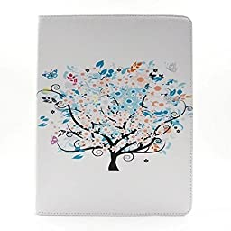 WONE Cartoon Cute PU Leather Flip Case with Cards Slots for Apple iPad 2/3/4 (Blooming Flowers)
