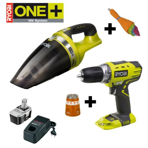 RYOBI 18V ONE+ Akku Handsauger CHV182M, inkl. 5 Mikrofasert&#252;chern, im Set mit Akku-Bohrschrauber RCD1802M, AEG-Bitbox und NiCad-Starterset BCP1817M