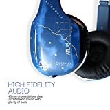 MEElectronics HP-Atlas-SK-MEE Atlas On-Ear Headphones with Inline Microphone and Universal Volume Control, Skyline Blue