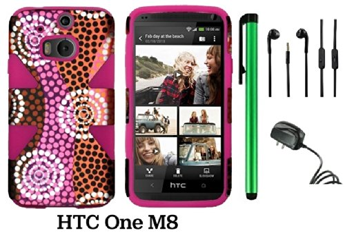 Htc One (M8) Dynamic Slim Hybrid Premium Pretty Design Protector Cover Case + Travel (Wall0 Charger + 1 Random Color Universal Handsfree Headset 3.5Mm Stereo Earphones + 1 Of New Assorted Color Metal Stylus Touch Screen Pen (Colorful Ethnic Wave Plastic /