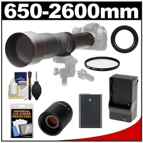Vivitar 650-1300Mm F/8-16 Telephoto Lens (Black) With 2X Teleconverter (=2600Mm) + En-El14 Battery & Charger + Filter + Accessory Kit For Df, D3100, D3200, D3300, D5100, D5200, D5300 Camera