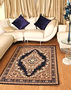 "Floral Blue Traditional Navy Blue Medallion Rug Carpet Persian Style Rugs Runner Modern Soft Carpet (60cm x 110cm (2ft 1"" x 3ft 7"")) from AHOC"