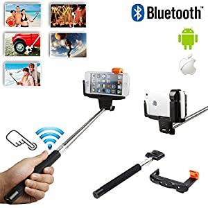 Bras t lescopique de selfie avec le bouton bluetooth int gr e distance et support de t l phone - Bras telescopique tv ...