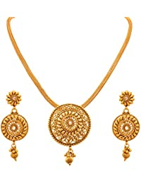 JFL - Traditional Ethnic One Gram Gold Plated Polki Designer Pendant Set With Earring For Women & Girls.