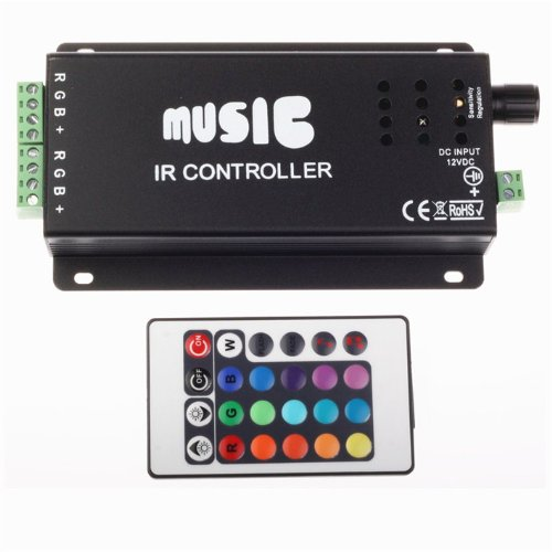 Generic 10A 12V Music Sound Ir Controller For Rgb Led Strip Light + 24 Key Remote