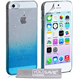 Yousave Accessories Raindrop Hard Cover Case for iPhone 5 / 5S - Blue/Clear