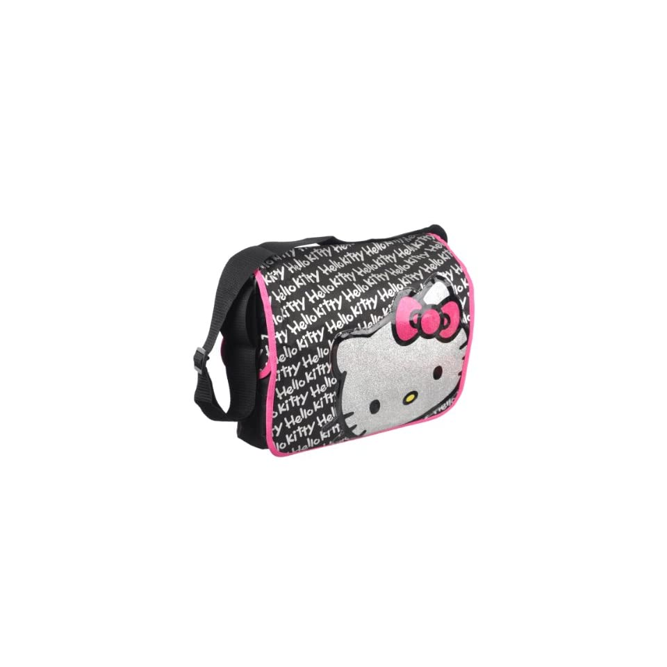 Hello Kitty Glitter Face Signature Black Messenger Bag