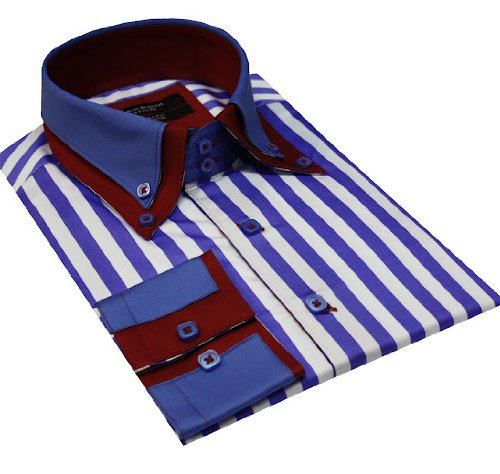Italian Design Double Collar Button Down Men Formal Casual Shirts Blue Stripe