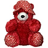 Teddy Bear With Cap And Bow Velvet Red 76cm Tall