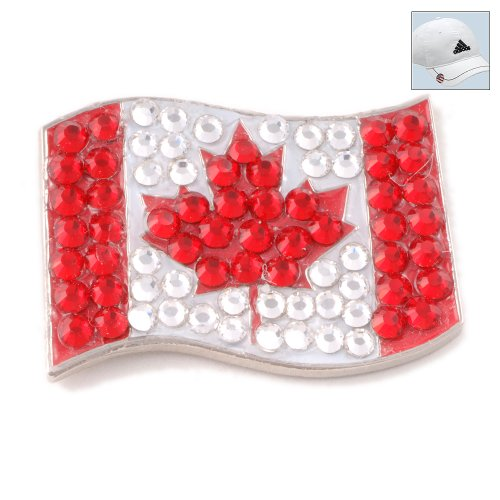 Bonjoc Swarovski Crystal Golf Ball Marker & Hat Clip - Flag - Canada (Canada Flag Ball compare prices)