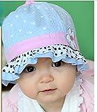 【紫外線からベビーを守る&選べる8色】水玉 可愛い 帽子 つば 付き フリル リボン ドット 花 フラワー フード ベビー キッズ 日焼け 帽子 UV 日よけ (G. 水色(白黒水玉コンビ)) ランキングお取り寄せ