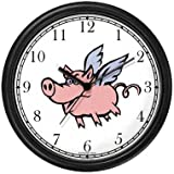 Angel Pig or Flying Pig with Wings Animal Wall Clock by WatchBuddy Timepieces (White Frame)