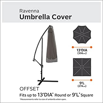 Classic Accessories Ravenna Offset Patio Umbrella Canopy Cover - Premium Outdoor Furniture Cover with Durable and Water Resistant Fabric