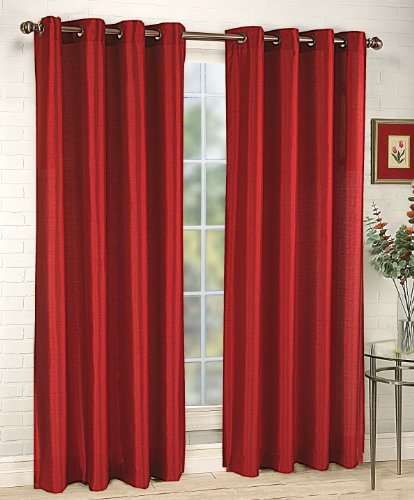 Stylemaster Tribeca 56 by 95-Inch Faux Silk Grommet Panel, Crimson (Red Faux Silk Curtain Panels 95 compare prices)