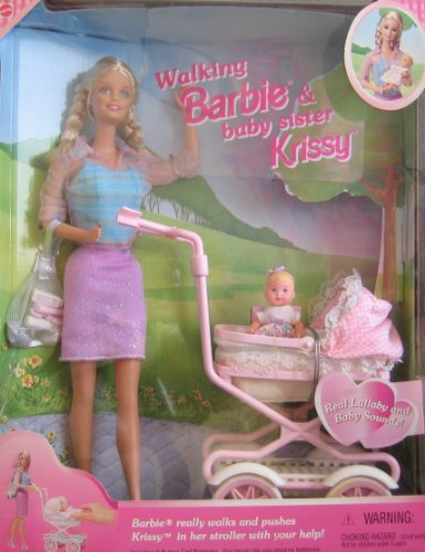 "Walking Barbie & Baby Sister Krissy Doll w ""Walking"" Barbie Doll & Lullaby & Baby Sounds (1999)"