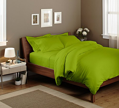 Pima Cotton Sheet Set 400 Tc Solid (Full, Parrot Green) By Bedding Spa front-621378
