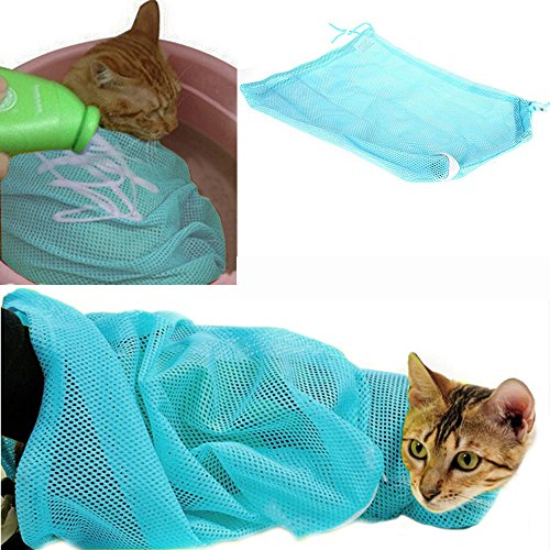 i'Pet® Adjustable Polyester Mesh Big Cat Grooming Bag Dog Cleaning No Scratching Biting Restraint for Bathing Nail Trimming Injecting Examing (Blue)