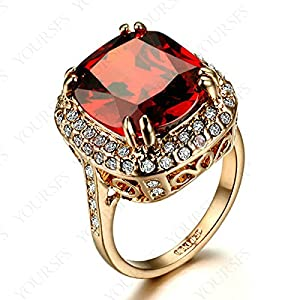 Red Cubic Zirconia Ruby Royal Rings For Women Anel Men Jewelry R141R2