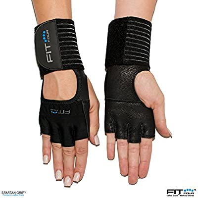 The Spartan - Full Leather Palm | Fit Four Callus Guard Workout Gloves for Weight Lifting & Cross Training Athletes from Fit Four LLC