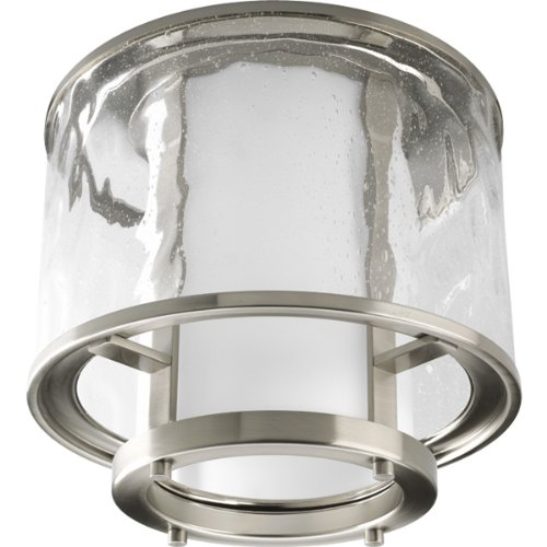 Progress Lighting P3941-09 Bay Court Collection 1-Light Outdoor Flushmount, Brushed Nickel