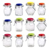 12pc Glass Spice Jar Set - Bright Color Ceramic Tops - Wire Basket Closure