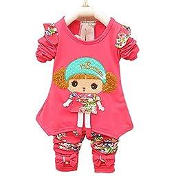 Baby Girls\' Toddler 2 Pieces Cartoon Top Leggings Clothing Set Outfits(XL,Rose)