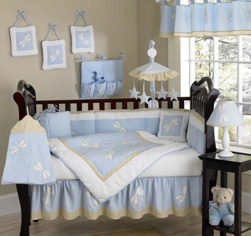JoJo Designs 9-Piece Baby Designer Crib Bedding Set - Blue Dragonfly Dreams