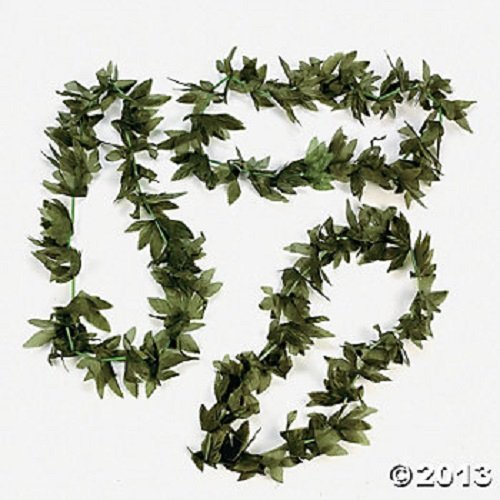 12 Tropical Fern Green Leaf Leis Hawaiian Luau Party