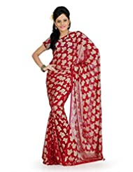 Designersareez Women Georgette Jacquard Printed Maroon Saree With Unstitched Blouse(727)