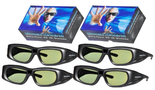 PANASONIC Compatible 3D Glasses Ultra-Clear HD for 2011 & Prior 3D TV's (IR) Rechargeable 4 Pack