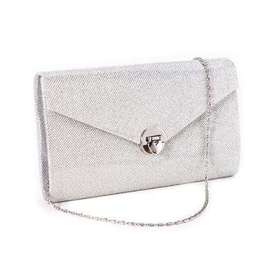 Anladia Sac a Main Pochette Style Portefeuille avec Porte-monnaie Integre pr Femme Fille Argente